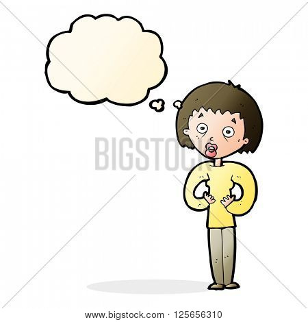 cartoon woman gesturing at self with thought bubble