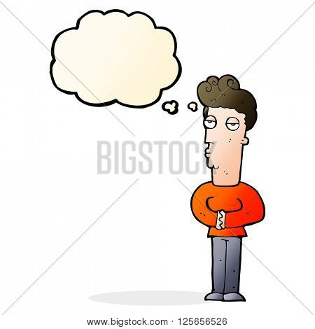 cartoon arrogant man with thought bubble