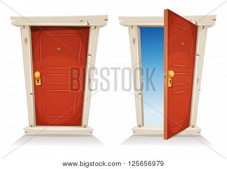 Illustration of a cartoon entry red door closed and opened on a spring sky background symbolizing private and public frontier discovery paradise or heaven's gate with door knob and peephole