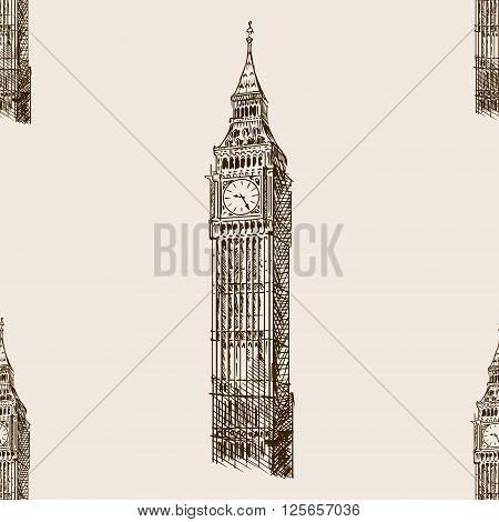 Big Ben tower sketch style seamless pattern vector illustration. Old engraving imitation. Big Ben landmark hand drawn sketch imitation