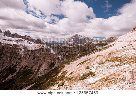 Snow and mountain view  Italy Alps Dolomites