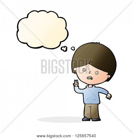 cartoon unhappy boy giving peace sign with thought bubble