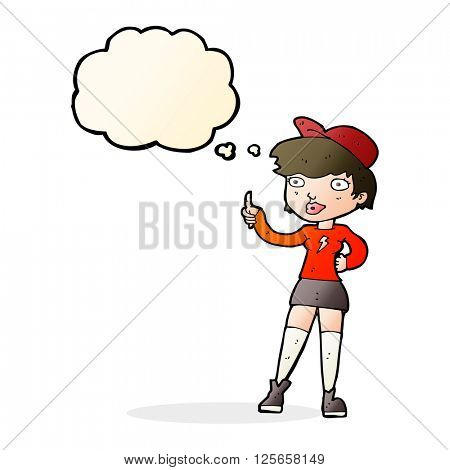 cartoon skater girl giving thumbs up symbol with thought bubble