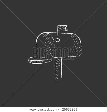 Mail box. Drawn in chalk icon.