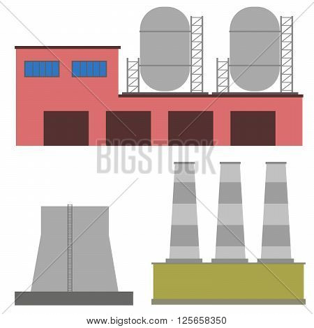 vector illustration Factory power electricity industry manufactory buildings flat decorative icons set isolated