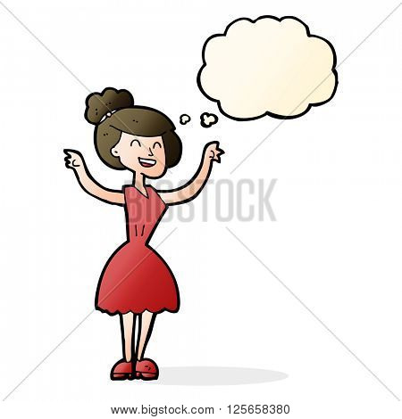 cartoon woman with raised arms with thought bubble
