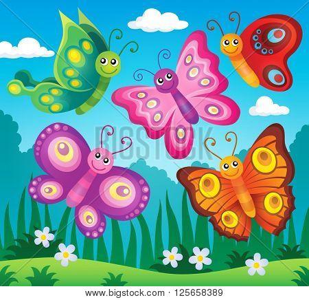 Happy butterflies theme image 2 - eps10 vector illustration.