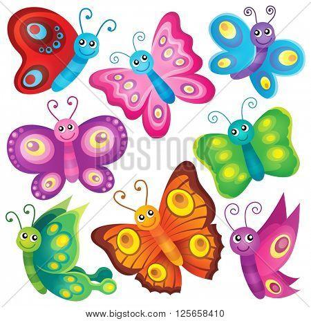 Happy butterflies theme set 1 - eps10 vector illustration.