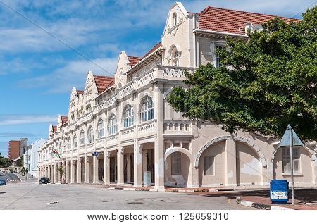 PORT ELIZABETH SOUTH AFRICA - FEBRUARY 27 2016: The historic King Edward Hotel near the Donkin memorial built in 1903