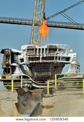 Hot metal ladle car transportation in steel plant