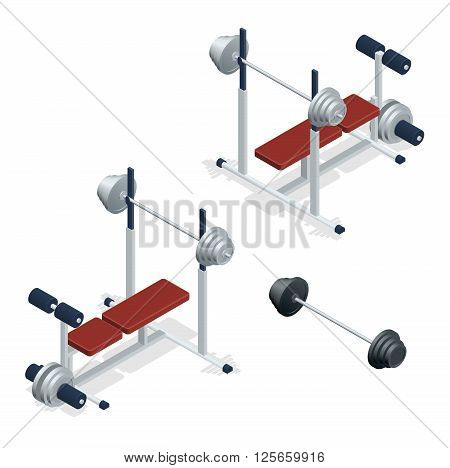 Gym adjustable weight bench with barbell isolated on white background. Flat 3d isometric vector illustration