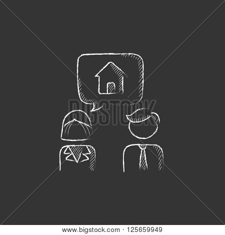 Couple dreaming about house. Drawn in chalk icon.