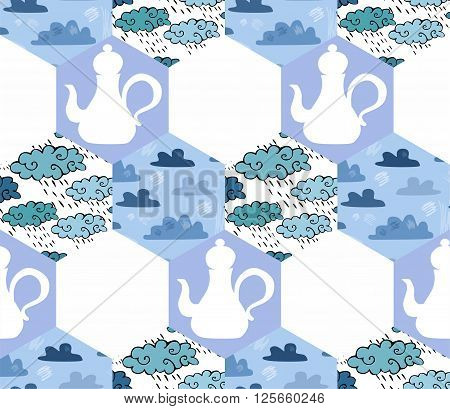 Seamless patchwork pattern with teapots and clouds in blue tones. Vector illustration of quilt.