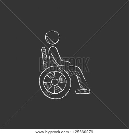 Disabled person. Drawn in chalk icon.