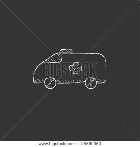 Ambulance car. Drawn in chalk icon.