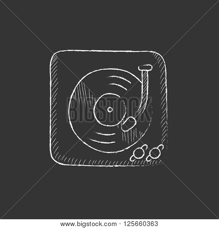 Turntable. Drawn in chalk icon.