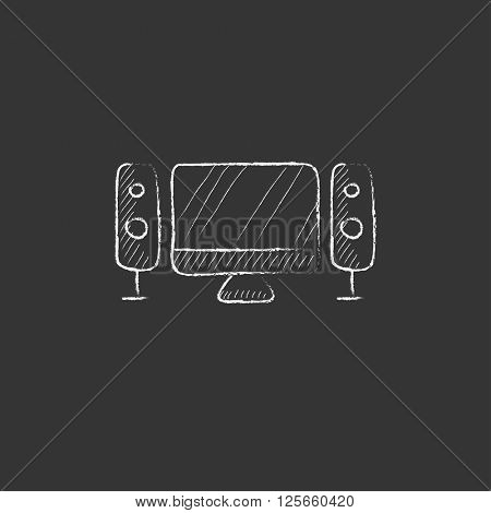 Home cinema system. Drawn in chalk icon.