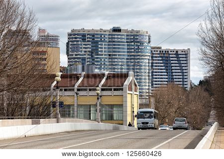 Sochi, Russia - February 8, 2016: View of the Kurortny prospect and new housing developments