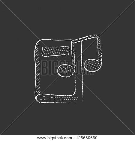 Audio book. Drawn in chalk icon.