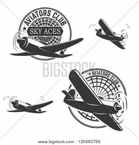 Set of aviators club labels. Planes icons. Avia club emblems. Aeroplane trips. Aviators club logo. Design elements in vector.