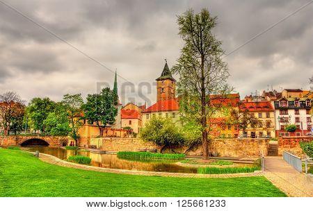Garden in the historic centre of Pilsen - Czech Republic