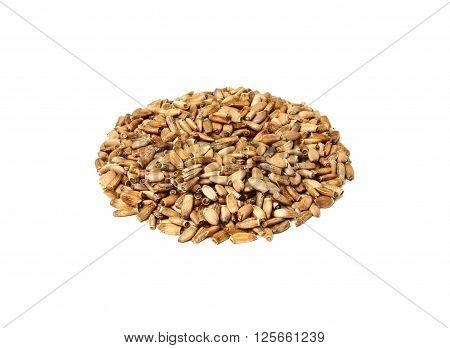 Silybum marianum.Marian Thistle.Milk Thistle seeds isolated on white background.