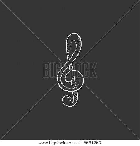 G-clef. Drawn in chalk icon.