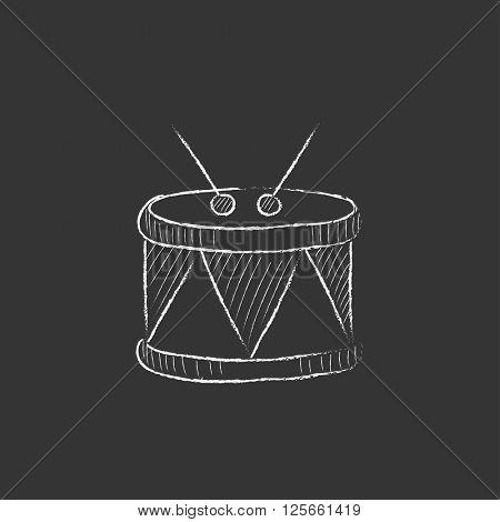 Drum with sticks. Drawn in chalk icon.