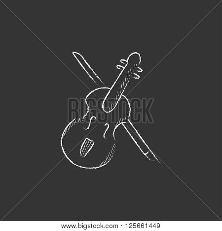 Violin with bow. Drawn in chalk icon.
