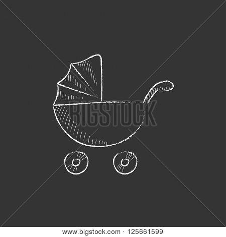 Baby stroller. Drawn in chalk icon.