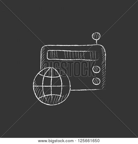 Retro radio. Drawn in chalk icon.