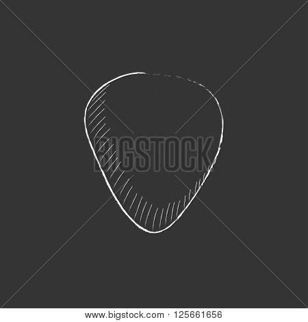 Guitar pick. Drawn in chalk icon.