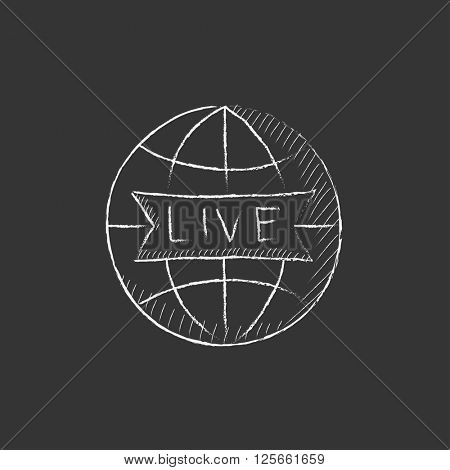 Globe with live sign. Drawn in chalk icon.