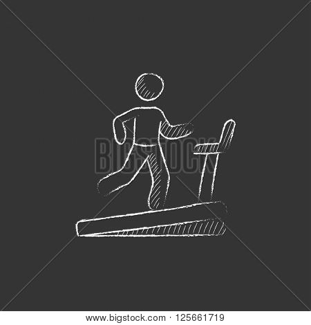 Man running on treadmill. Drawn in chalk icon.