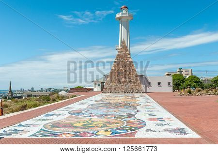 PORT ELIZABETH SOUTH AFRICA - FEBRUARY 27 2016: Mosaic art Donkin memorial and lighthouse along Route 67 consisting of 67 Public Art Works symbolising Nelson Mandelas 67 years fight for freedom