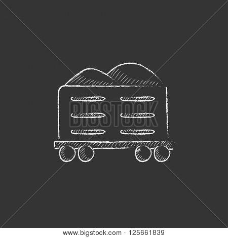 Cargo wagon. Drawn in chalk icon.