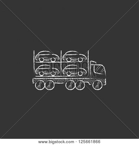 Car carrier. Drawn in chalk icon.