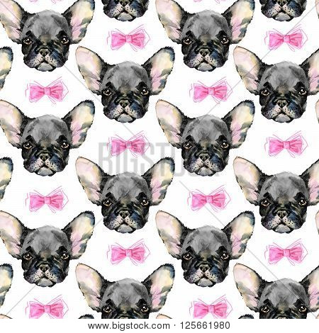 Dog Seamless pattern. French Bulldog. Cute dog. Watercolor dog. Puppy dog ilustration. Fashion print.