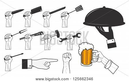 Set of human hands with different tools. Hand with beer mug. Hands with work tools. Design elements in vector.