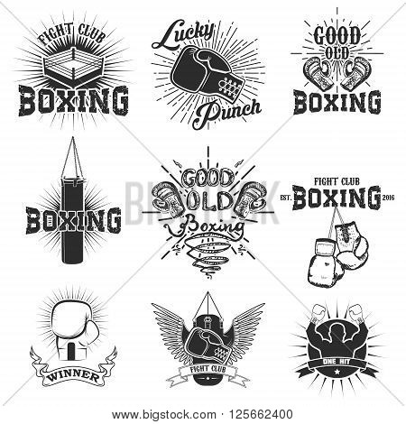 Set of the boxing club labels emblems and design elements. Boxing gloves. Lucky punch. Set of design elements in vector.
