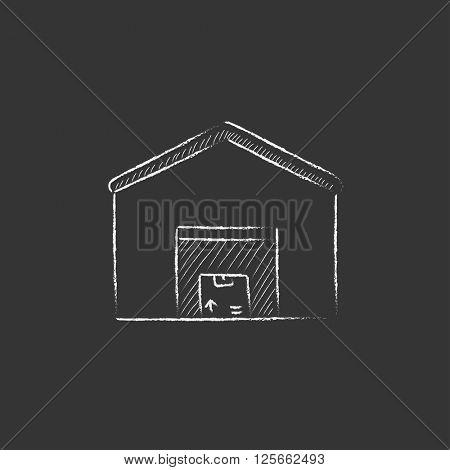 Warehouse. Drawn in chalk icon.