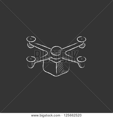 Drone delivering package. Drawn in chalk icon.