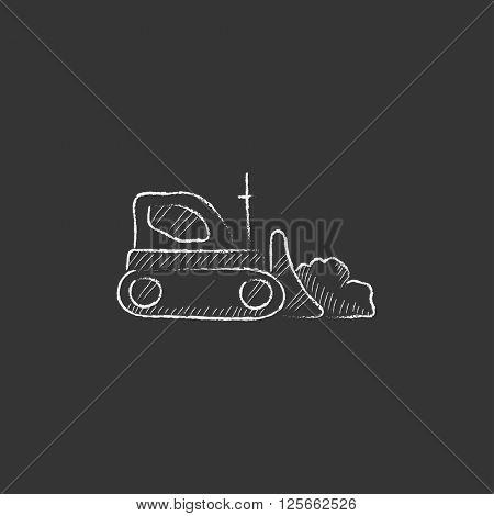 Bulldozer. Drawn in chalk icon.