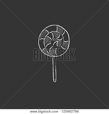 Spiral lollipop. Drawn in chalk icon.