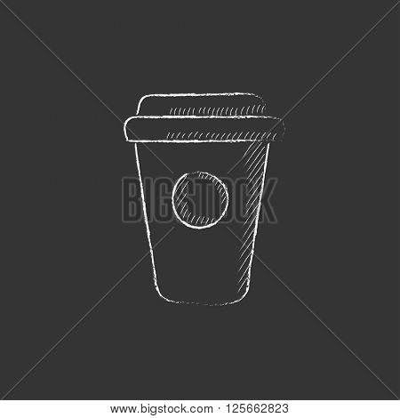 Disposable cup. Drawn in chalk icon.