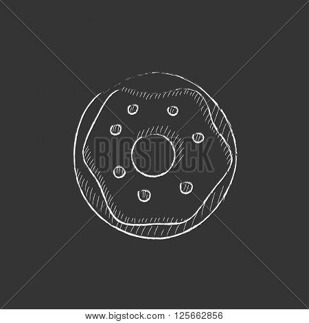Doughnut. Drawn in chalk icon.