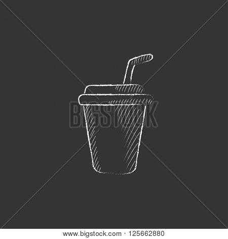 Disposable cup with drinking straw. Drawn in chalk icon.