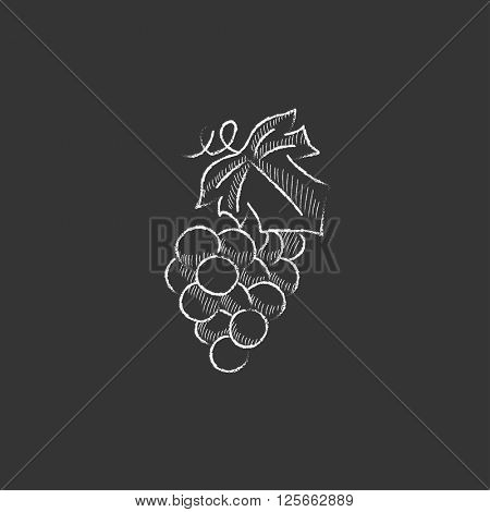 Bunch of grapes. Drawn in chalk icon.