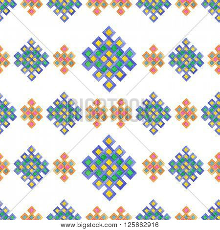 Seamless watercolor celtic knot pattern isolated on white background. Pattern with intertwined lines.