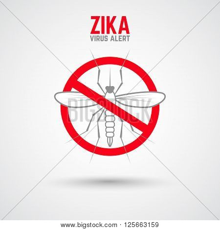 Zika virus alert. Moskit with phrase